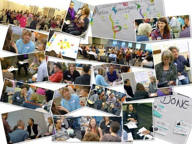 Kolaż zdjęć pokazujący wiele grup osób zaangażowanych w rozmowy i współpracę